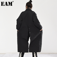 Fit Coat Women Parkas EAM Back-Button Cotton-Padded Autumn Long Winter Fashion New Loose