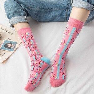 Милые женские цветные носки с изображением фруктов, еды, Забавный персик, банан, Сиба, кофе, торт, сердце, красное вино, мультфильм, хлопок, Sox