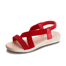 Discount 2020 Summer New Women Sandals Wedges Shoes for High-heels Casual Gladiator Elastic Band Low-cut Plus Size 35-41