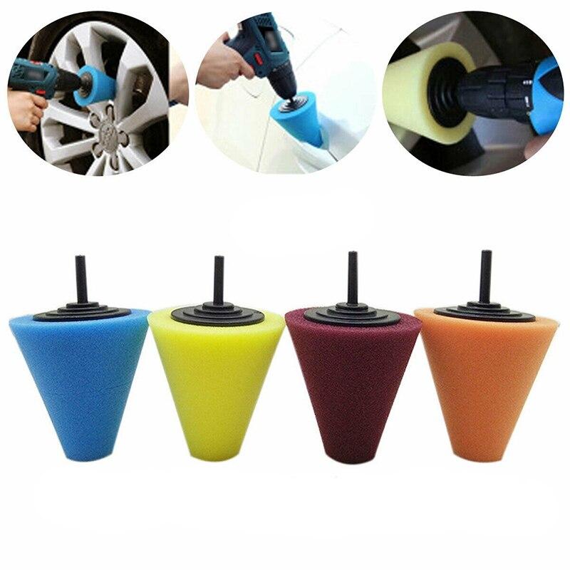 3Pcs Burnishing Foam Sponge Polishing Cone Shaped Buffing Pads For Car Wheel Hub