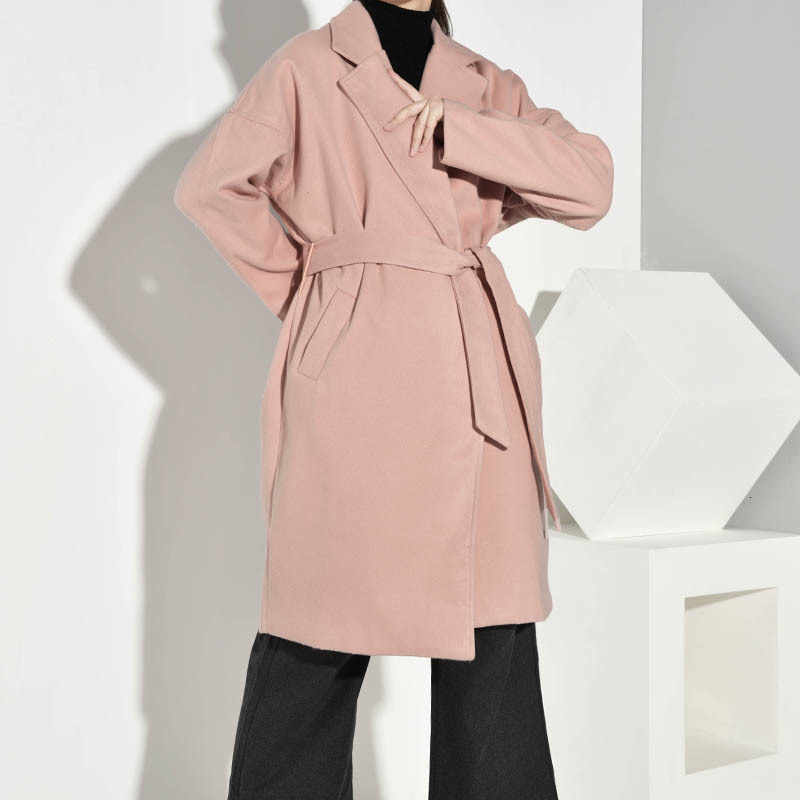 [DEAT] 2019 Women's Autumn Winter Fashion Trend New Pattern Office Lady Lapel Collar Solid-length Long-sleeved Woolen Coat AI551