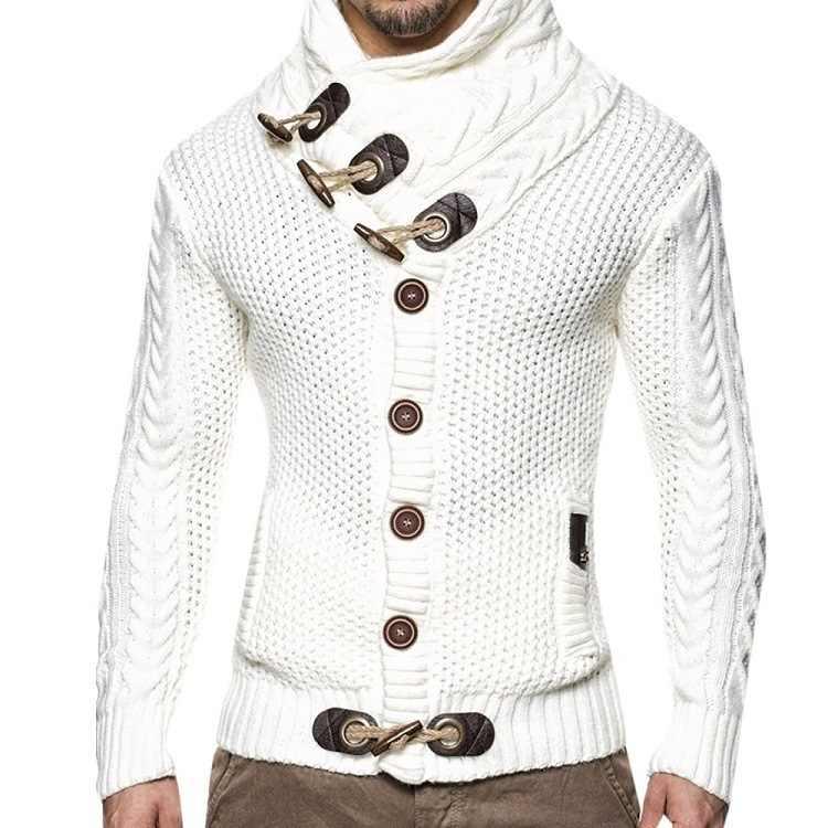 남성 카디건 스웨터 코트 2020 새로운 남성 가을 겨울 솔리드 터틀넥 스웨터 캐주얼 따뜻한 뜨개질 점퍼 스웨터 남성 코트