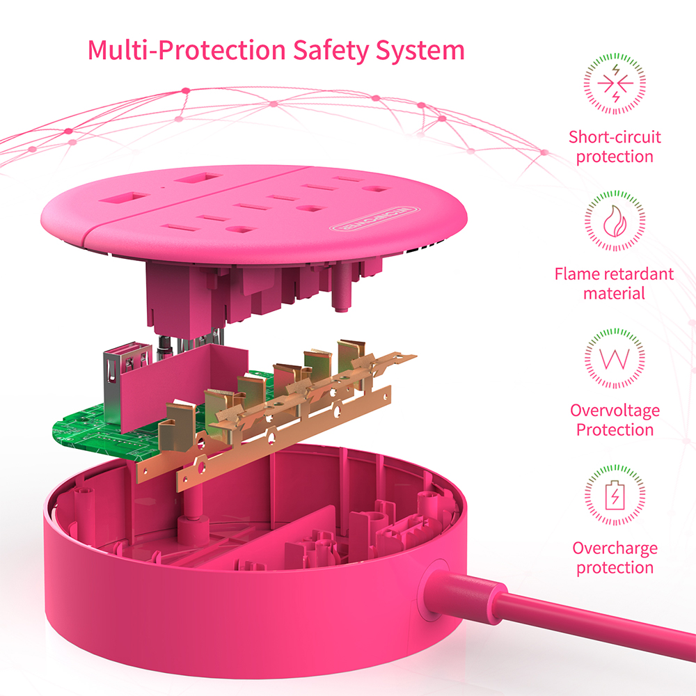 Nton power strip США плоская вилка зарядная станция розовый