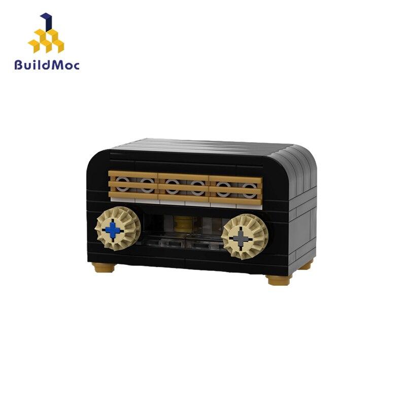 BuildMoc Mini Blocks Radio Model Bricks Building Blocks Vintage Radio Block Set Recorded Model Christmas Gift 22352