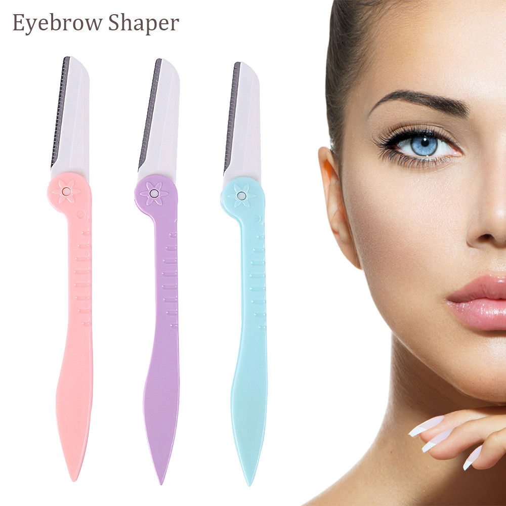 2020 Hot Sale 3pcs Eyebrow Brow Shaper & Dermaplaning Safe Painless Portable Razor Tool New Arrival