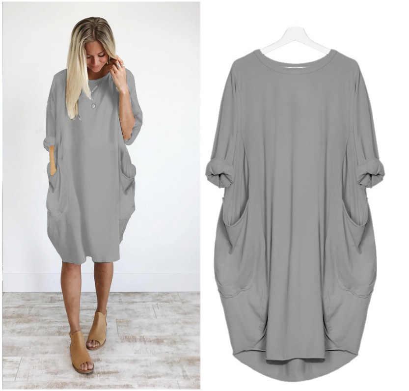 Grande taille 5XL nouvelles femmes robe col rond à manches longues automne robe Vintage en vrac décontracté robes De soirée avec poches Vestidos De Verano