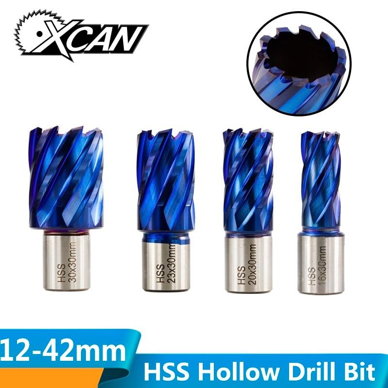 XCAN 1pc 12-42mm HSS Hole Opener Core Drill Weldon Shank Nano Blue Coated Annular Cutter Hollow Drill Bit Metal Drilling Bit