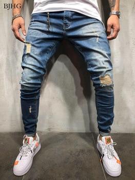 цена на BJHG Jeans Men's Autumn Winter Jogger Patchwork Casual Drawstring Jogging Pants Pants Pants Vaqueros Hombre Plus Size Men Jeans