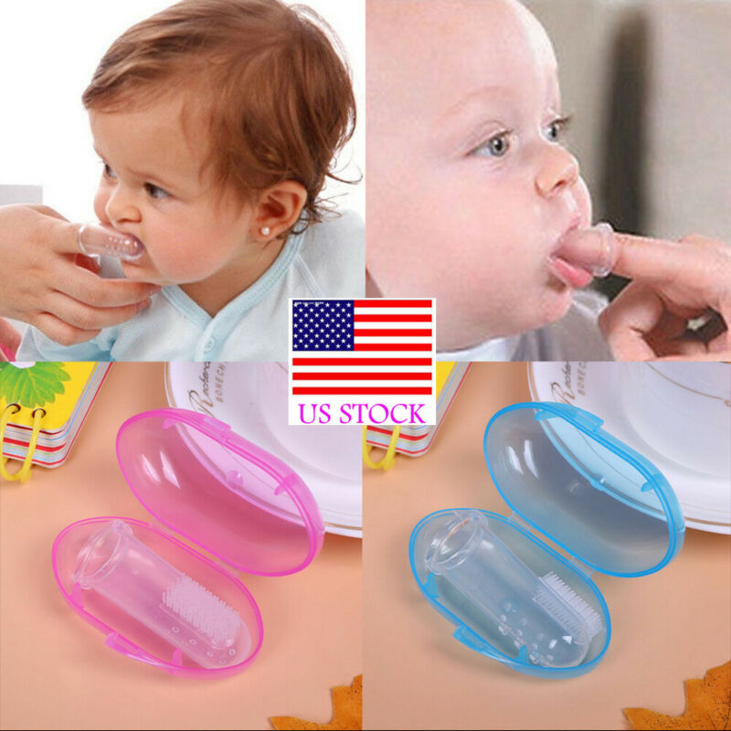 Baby Silicone Finger Toothbrush with Box Set Newborn Baby Toddler Kids Convenient Durable Portable Transparent Train Toothbrush image