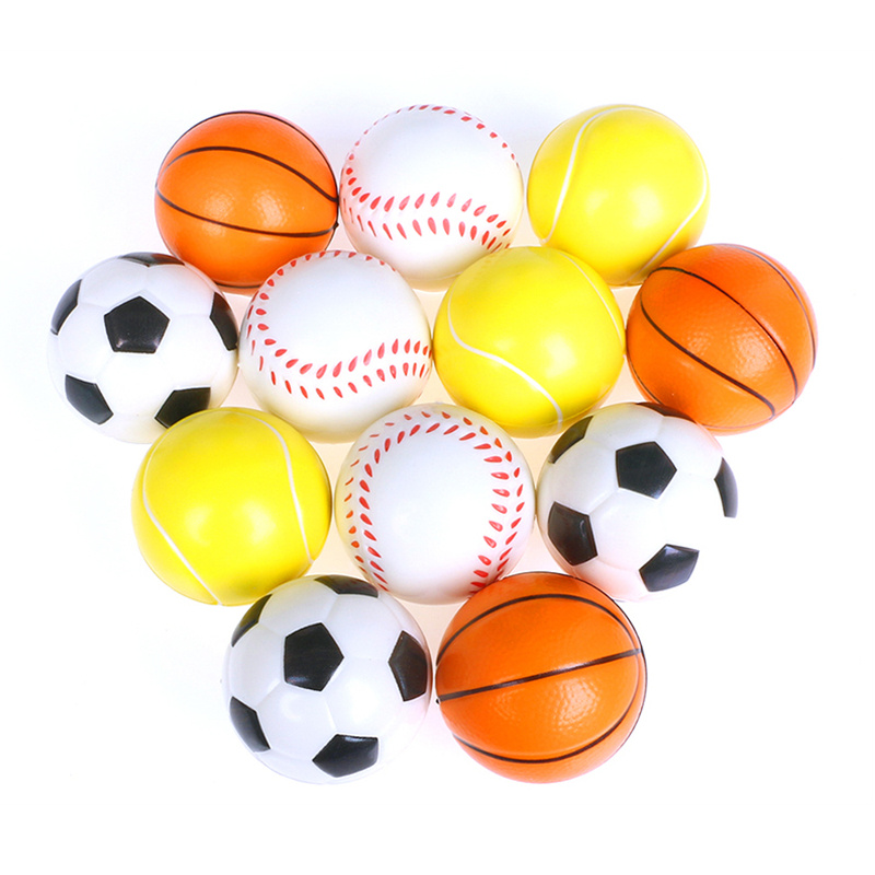 6pcs 6.3cm Squeeze Stress Balls Antistress Footballs Basketballs Tennis Baseballs Soft PU Foam Toys For Kids Children
