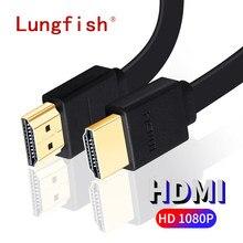 Cavo piatto compatibile HDMI Lungfish 2.0 4k 1080p spina 3D placcata in oro per proiettore per Computer portatile TV HD