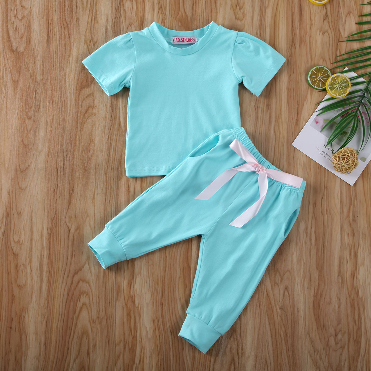 Pudcoco Toddler Baby Girl Clothes Solid Color Short Sleeve T-Shirt Tops Bowknot Long Pants 2Pcs Outfits Cotton Clothes Tracksuit