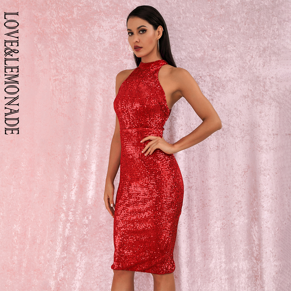 LOVE&LEMONADE Red Sexy Halter Strapless Slim Fit Elastic Sequined Knee Party Dress LM80492MID Autumn/Winter
