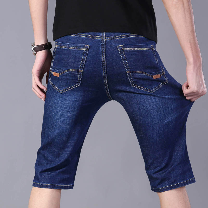 Summer Thin Denim Shorts Men Straight Tube Loose Five Minutes Stretch Youth Breeches 7 Minutes In The Pants 5 Minutes Pants