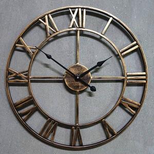Large Wall Clock Saat Oversized Wall Watch Reloj Pared Horloge Clok Duvar Saati Luxury Art Big Gear Metal Vintage living room(China)