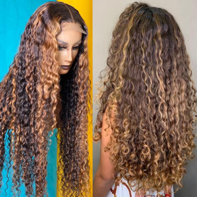 Curly Human Hair Wig Honey Blonde Ombre 13x1 Brazilian Brown Color 4