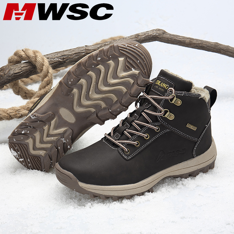 MWSC Men Women Winter Snow Boots Warm Fur Lining Ankle Boots Outdoor Waterproof Shoes Men Anti-slip Snow Shoes Pluse Size 36-47