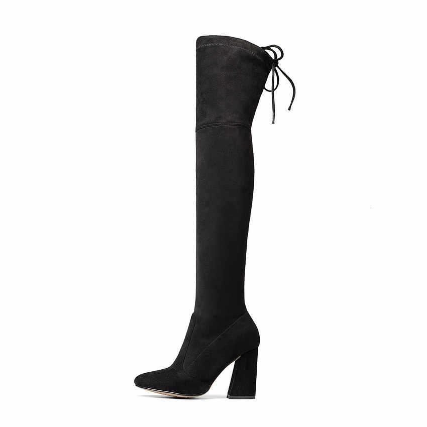 QUTAA 2020 nouveau troupeau en cuir femmes sur le genou bottes à lacets Sexy talons hauts automne femme chaussures hiver femmes bottes taille 34-43