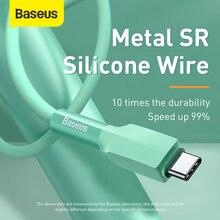 Baseus Type C кабель 3A Быстрая зарядка для Samsung S20 S10 S9 Быстрая зарядка для Xiaomi для One Plus USB-C Sillca гелевый силиконовый кабель