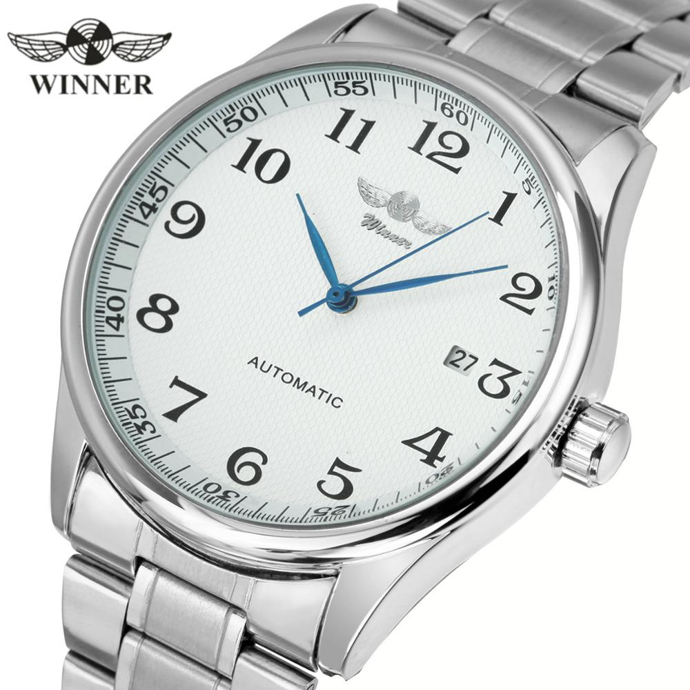 WINNER Official Automatic Watch Men Business Mechanical Watches Brand Luxury Stainless Steel Strap Date Classic Wristwatch Mens