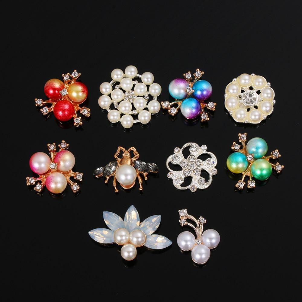 10pcs Sew-on Pearl Rhinestone Buttons Flatback Embellishment DIY Decorations