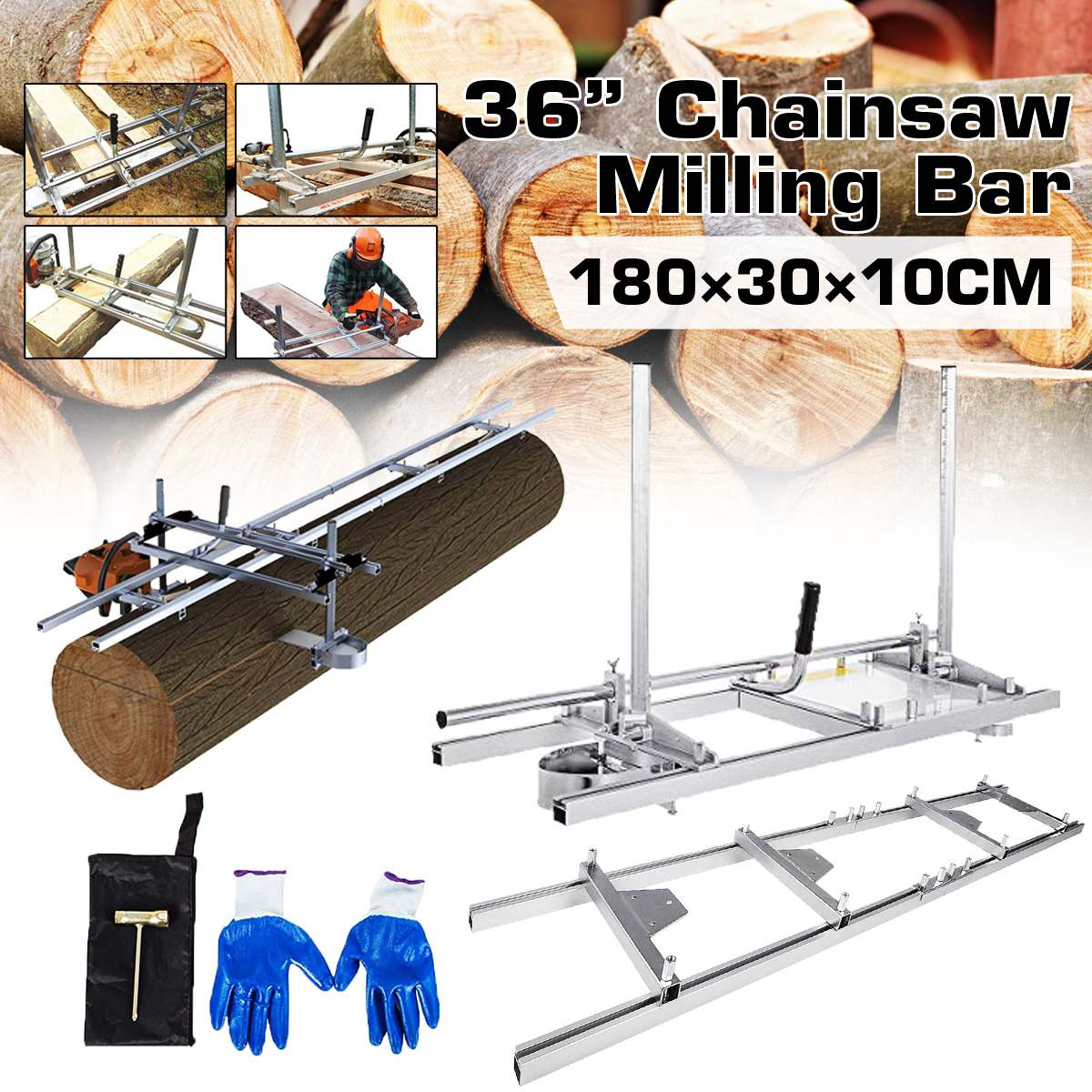 36 Inch Portable Chain Saw Chainsaw Mill Planking Sets Milling Bar Planking Lumber Cutting Tool 14