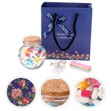 1 Set Wishing Bottle Capsule Kit Imitated Love Pill Capsule Drifting Bottle Writing Paper Pill Wishing Bottle Creative Birthday