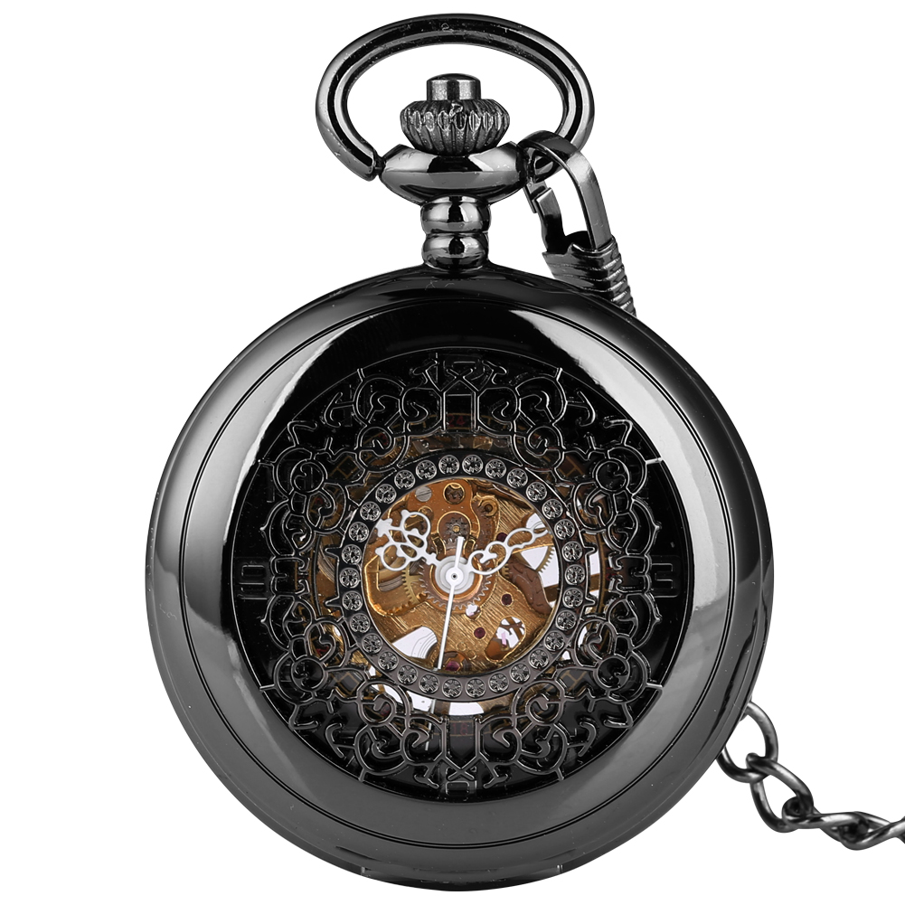 Classic Elegant Black Hollow Pocket Watch Hand Winding Mechanical Fob Watch Men Women Necklace Chain Clock Accessory Gift