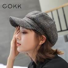 COKK – casquette de livreur de journaux en laine, chapeau à la mode pour femme, béret épais et chaud, Vintage, visière de voyage, collection automne et hiver