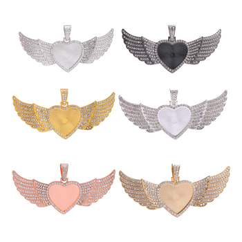 JUYA 30mm Heart Cabochon Pendant Base Angel Wing Charms For DIY Jewelry Making Alloy Matching Diamond Necklace Jewellry Findings juya jewelry making cabochon base 4pcs 25mm inner size diy charms necklace pendant cabochon matching glass supplies accessories