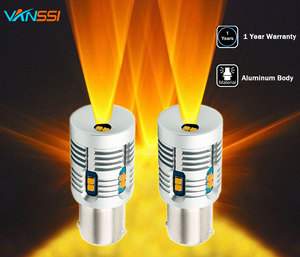 Image 1 - 2 pièces Bau15s 7507 PY21W LED Canbus, sans erreur, Flash, 2000lm BA15S P21W 7506 1156 LED, ampoule de Signal 6000k, blanc/ambre, jaune