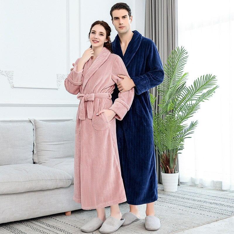 Long Winter Couple  Robe Thick And Warm Night Bathrobe 1500