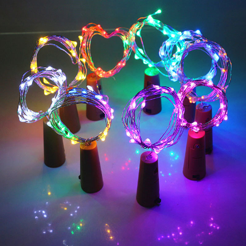 1M 2M LED String Garland Copper Silver Wire String Lights Bottle Stopper Fairy Lights Holiday Wedding Party Christmas Decoration