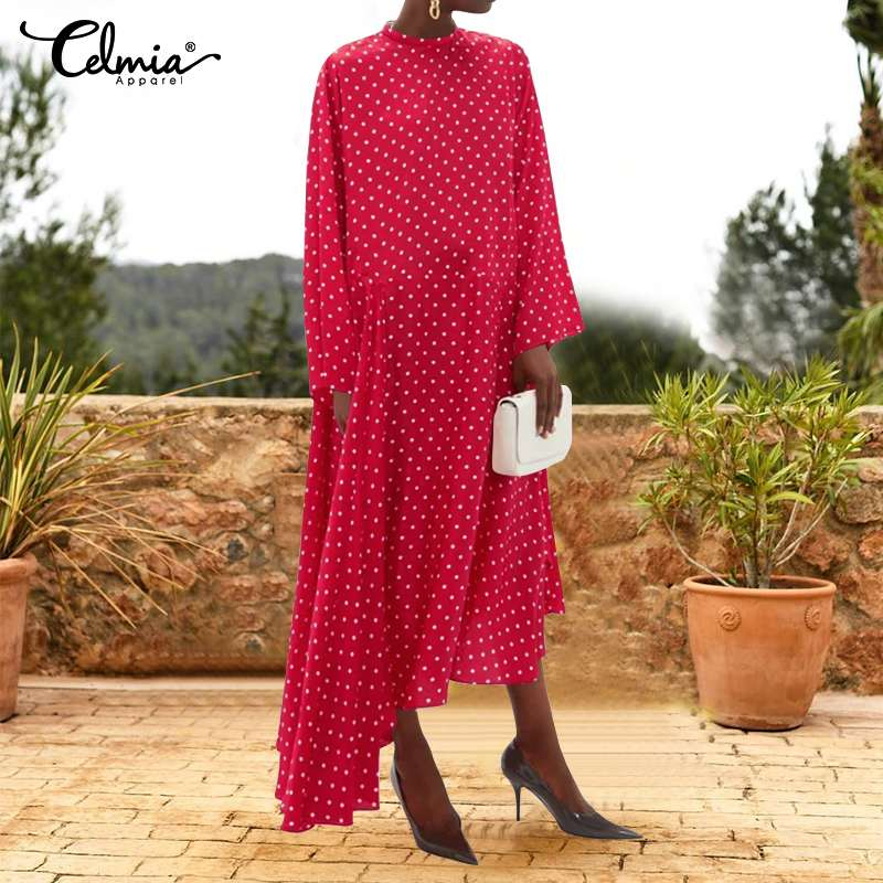 Celmia Bohemian Polka Dot Sundress Women Long Dress Ladies <font><b>Sexy</b></font> Ruffles Vestidos Asymmetrical Casual Holiday Maxi Robe <font><b>Femme</b></font> <font><b>5XL</b></font> image