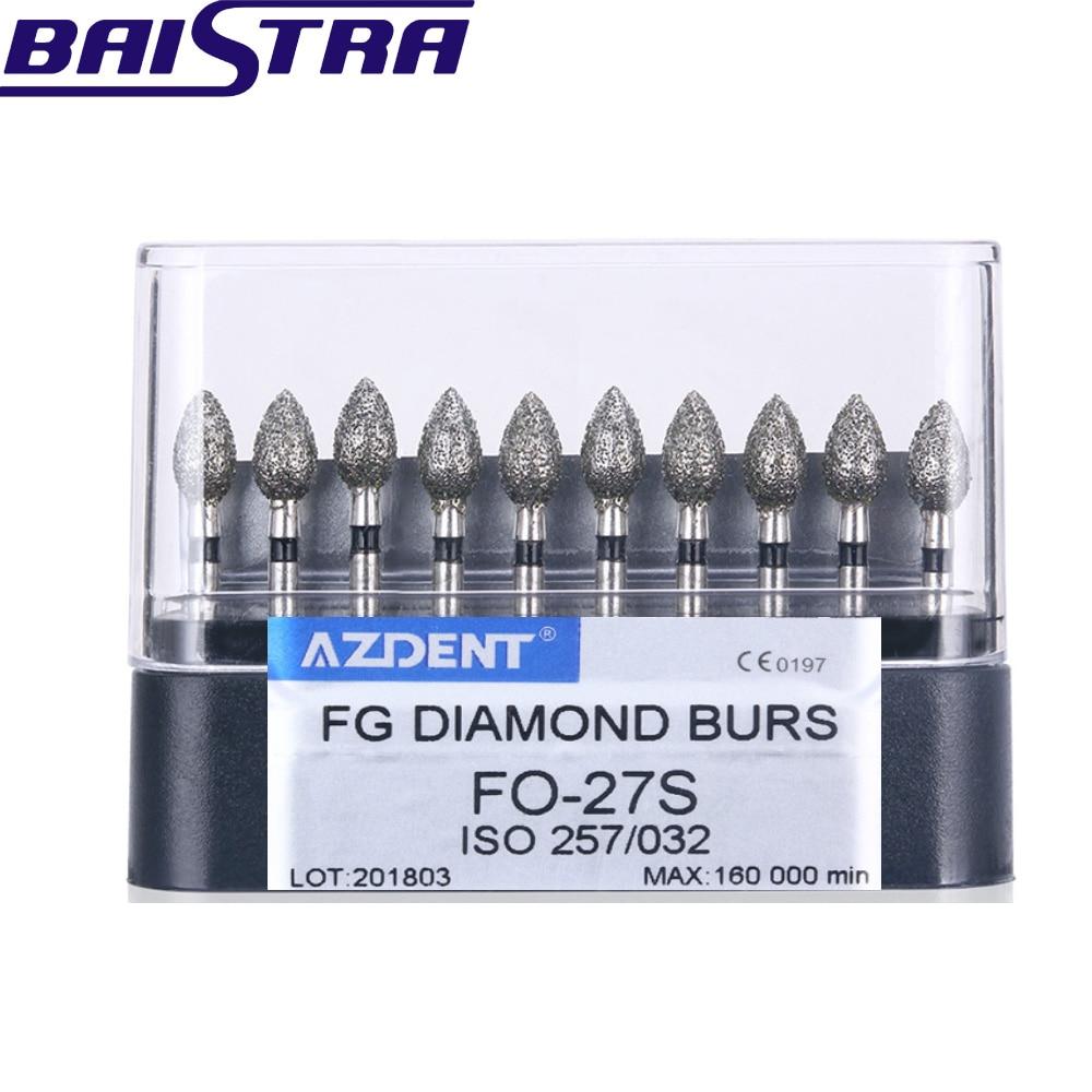 FO-27S 10 Pcs/set High Speed Diamond Burs Diamond Polishing Grinding Drill Grinder Bits Dentist Tools Dental Lab Matreial