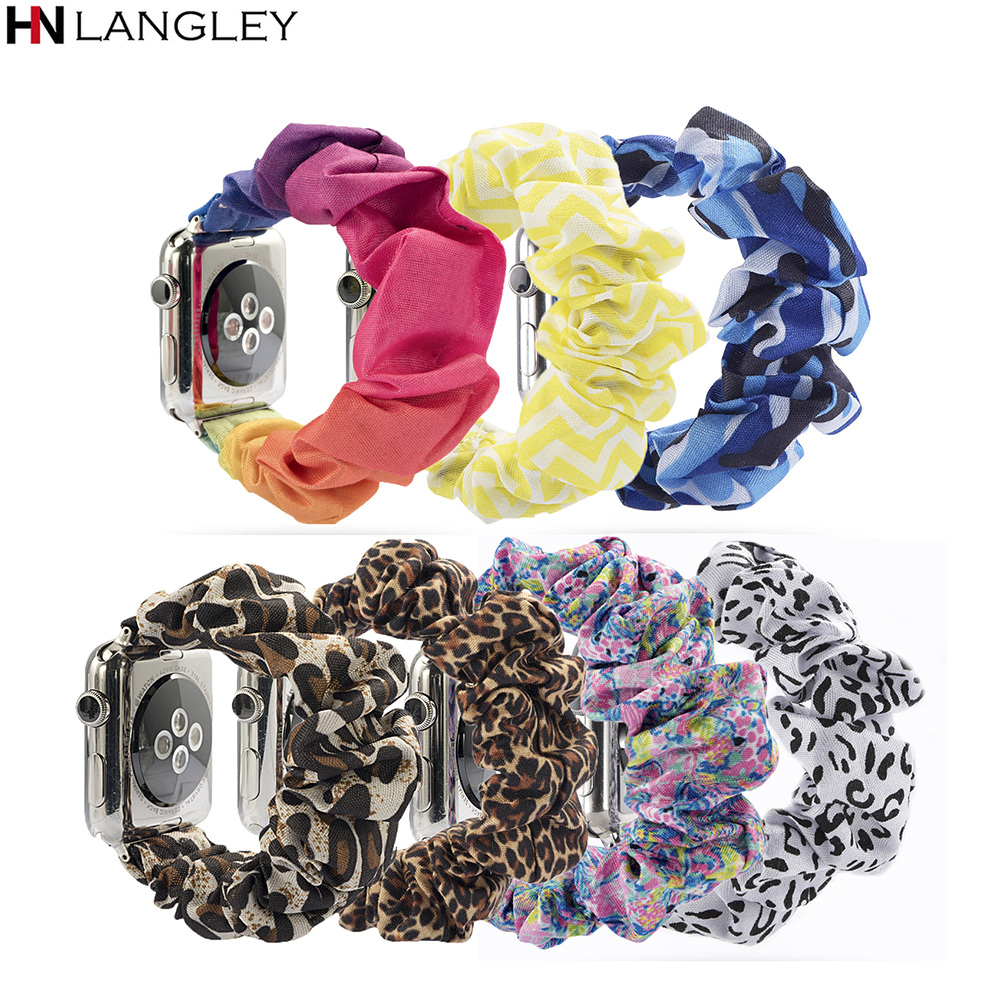 Women Scrunchie Elastic Watch Band For Apple Watch Band 38mm/40mm 42mm/44mm Casual Women Girls Strap Bracelet For Iwatch