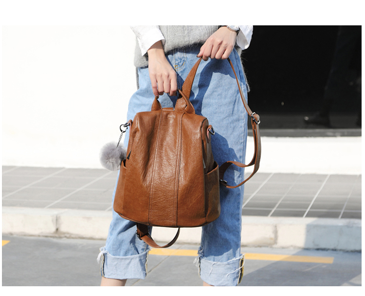 Leather Backpack Women Multifunction Anti Theft Bagpack