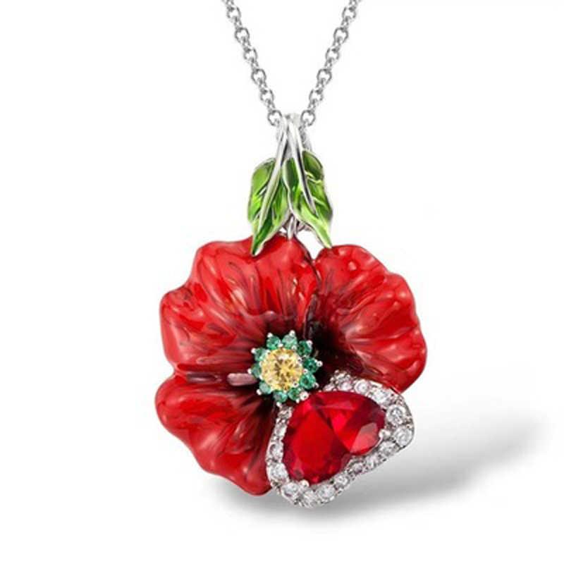 Itenice Schöne Kristall Rote Rose Emaille Halskette Drip Öl Blume Anhänger Böhmen Romantische Anhänger Frauen Hochzeit Schmuck Geschenk