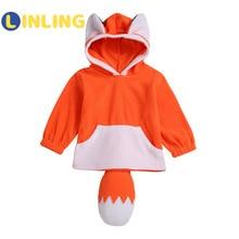 Hoodies Orange LINLING Sweatshirts Toddler Girls Sweet Kids Fashion Cartoon Autumn 3D