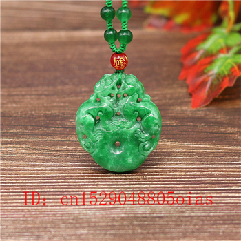 Natural Green A Emerald Jade Pixiu Pendant Necklace Jadeite Jewellery Double-sided Carved Amulet Fashion Gifts for Women Men