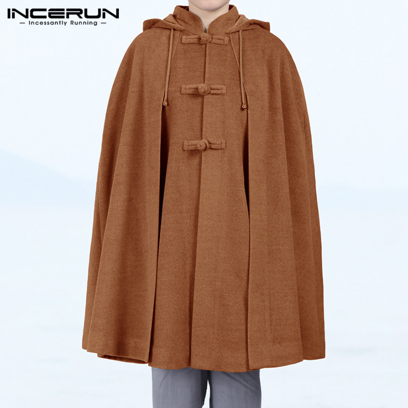 Winter Men Solid Color Retro Cloak Hooded Cape Jackets Fashion Baggy Casual Fleece Ponchos Mens Trench Hoodie Streetwear INCERUN