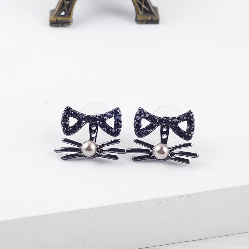 Exquisite Crystal Imitation Pearl Bowknot Cute Cat's Whiskers Stud Earrings For Women