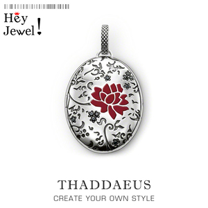 Pendant Oval Red Flower Locket,2019 Fashion Glam 925 Silver Jewelry Thomas Sterling Necklace Romantic Gift For Ts Soul Woman(China)