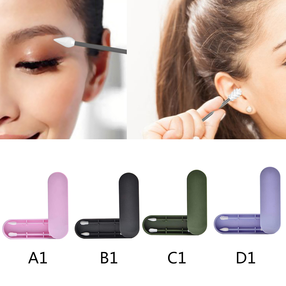 Reusable Double-Sided Cotton Swab Ear Pick Stick Cosmetic Silicone Buds Swabs Cleaning Stick Makeup Tool Accessories