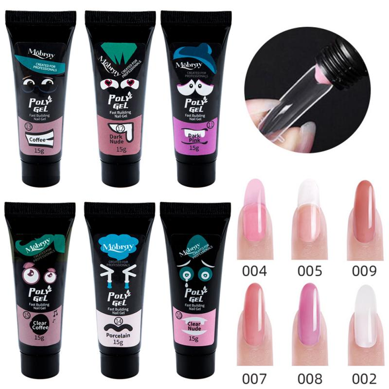 15ml Nail Extension Gel Polygel Nail Acrylic Poly Gel Pink White Clear Crystal UV LED Builder Gel Tips Quick Extension Gel TSLM1