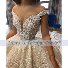 Luxury Sheer Tulle Wedding Dress Sexy Off Shoulder Full Pearl Beaded Bridal Ball Gown 2021 Custom Made Vestido De Noiva