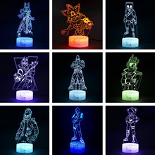 Fortress Night 3D illusion Action Figure Lamp Knight Yond3r Ice King Battle Royale Figurine Light Up Toys Kids Sleeping Light