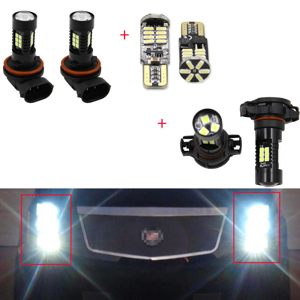 6 stuks Witte LED Fog Driving DRL Gloeilampen Combo Voor Cadillac Escalade 2007-2014