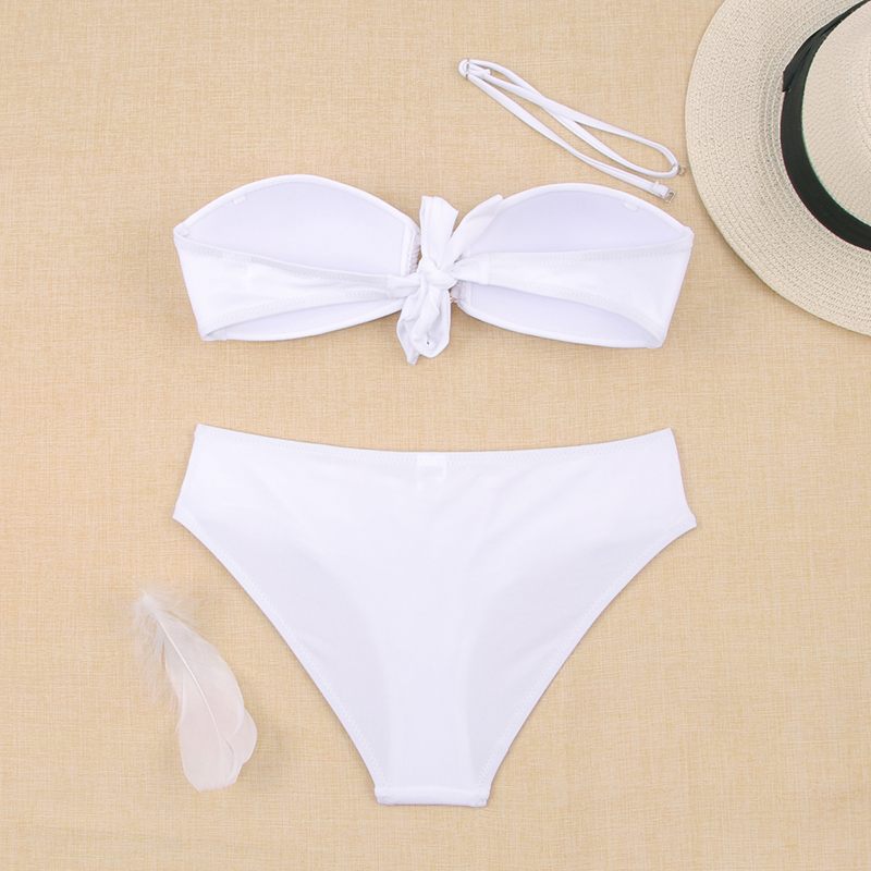 He17fc5f9de174908b56ca76664451357i - Sexy Bikini Push Up Solid Swimsuit Female Bikinis String Bathing Suit Women Swimwear Bandaeu V Neck Biquini Bikini Set