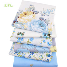 Chainho,6pcs/lot,Blue Floral Series Twill Cotton Fabric,Patchwork Cloth,DIY Sewing Quilting Fat Quarters Material For Baby&Child(China)